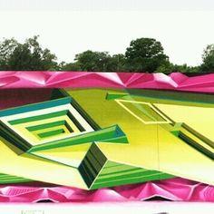 Second part of amazing 3D work by @lostoptics (Globalstreetart.com/lost-optics) #globalstreetart #3D #graffiti