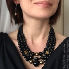 Necklaces & Beads handmade. Livemaster - handmade. Buy Old gold and black. Multi-row necklace..Black