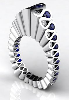 "Erik Stewart ""Fluted"" Ring with diamonds and sapphires - referenced by the Elizabethan collar known as the ruff."