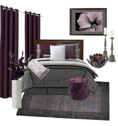 New bedroom colors...exactly what i was looking for! Grey and Plum Bedroom Decor Goes along with my Vera Wang bedding
