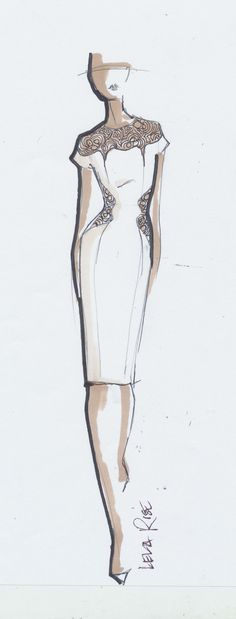 Fashion design sketch dress drawing Lela Rose I like how the dress is the most detailed Also like the watercolor Be Inspirational Mz Manerz Being well dressed is a beaut. Illustration Mode, Fashion Illustration Sketches, Fashion Sketchbook, Fashion Sketches, Design Illustrations, Medical Illustration, Sketchbook Ideas, Moda Fashion, Fashion Art