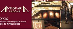 2016 -  Fiera Antiquaria, Antique items Fair, April 9-10, and April 16-17, 10 a.m.-8 p.m., April 11-15, 3-8 p.m., in Padova, Via Tommaseo 59, about 24 miles southeast of Vicenza; antique furniture and rugs; glass art products; jewelry, museum collections, paintings and sculptures; admission fee: €8; reduced €4 for children age 13-17 and senior citizens onder than 65; free for children younger than 13.