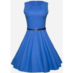 Round Neck Belt Plain Skater Dress (€27) ❤ liked on Polyvore featuring dresses, flare dress, blue skater dress, flared dresses, blue collared dress and round neckline dress