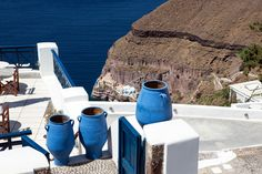 Blue Greek Urn's, Santorini, Greece.