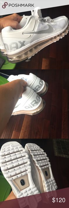 Men's air max brand new never worn Brand-new men's Airmax sneakers never worn all white with a hint of gray on the back that says air max and Nike check in the front is in a gray as well size 11 in men's. Direct Nike product Nike Shoes Athletic Shoes