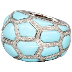 de Grisogono Turquoise Diamond Gold Dome Ring | From a unique collection of vintage dome rings at https://www.1stdibs.com/jewelry/rings/dome-rings/