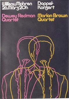 Original vintage poster JAZZ CONCERTS WILLISAU REDMAN BROWN 1977 #Modern