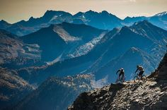"""""""#PinkbikePOD 25 February 2016, selected by @matt_wragg - @connorahoyhoy and @grahamagassiz drop in off the 8,300-foot summit of Reco Peak. …"""""""