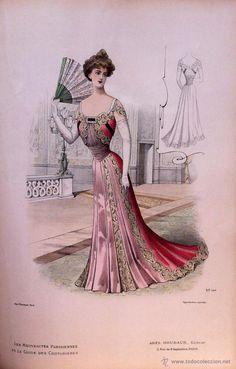Arte: LA MODE ARTISTIQUE ORIGINAL S.XIX, G. JANET, COLOREADA A MANO, MODA ELEGANTE DE SEÑORAS, PARIS, 43X2 - Foto 2 - 48655957