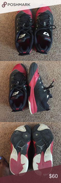 Red/blk Jordan's Sz 8.5 Boys Nice blk/red Jordan sneakers. Little marks on them. In fair condition. Size 8.5 Jordan Shoes Sneakers