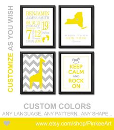 Elephant birth announcement wall decor for nursery print or canvas personalized new baby gifts grey yellow birth stats print state baby date of birth negle