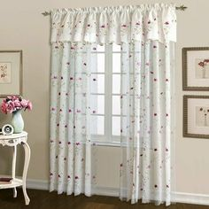 """Loretta Panel Size: 84"""" H x 52"""" W, Color: Violet by United Curtain Co.. $18.99. Loretta SHEER Embroidered Curtain Panel 84"""" Long - Color: Violet. Picture shows 2 valance over 2 panels---Available valance is sold seperately and requires a 2nd rod to hang. 100% polyester machine washable. Color is White with Violet embroidery. Sold as a single panel that is 52"""" wide x 84"""" long with a scalloped bottom. LO84WHVI Size: 84"""" H x 52"""" W, Color: Violet Features: -Standar..."""