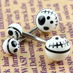 2PC White Black The Nightmare Before Christmas UV Stainles Steel Ball Navel Ring