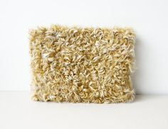 Square Fur Clutch Bag / Shearling Lamb Fur Bag / Spicy by Imunde