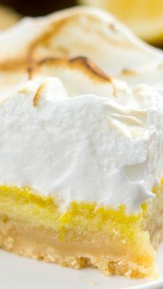Lemon Meringue Pie Bars with a shortbread crust, lemon filling, and ...