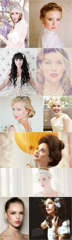 Vintage Look - Bridal makeup.  The girl on the right, second from the top.  Perfect makeup.