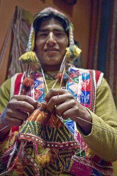 Peruvian man knitting
