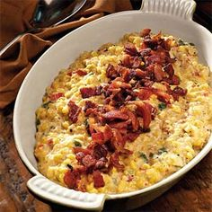 Creamy Fried Confetti Corn  ~  Crisp, crumbled bacon puts this irresistible dish over the top. The recipe is wonderful made with fresh corn, but if you're short on time, just substitute an equal amount of frozen.