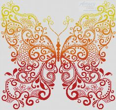 Artecy Cross Stitch. The Red Orange Yellow Butterfly Cross Stitch Pattern to print online.