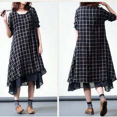Plaid long-sleeved cotton dress - Buykud -