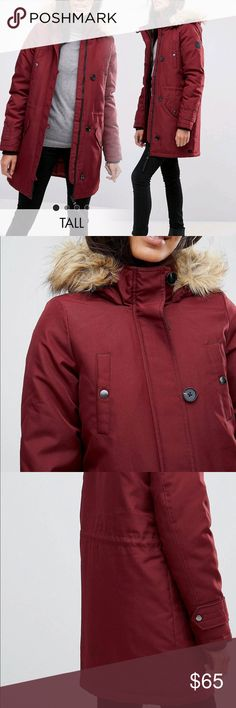 """Tall Burgundy Hooded Faux Fur Coat Woven fabric Hooded neck with faux-fur trim Concealed zip placket Functional pockets Drawstring waist Regular fit - true to size Dry clean 100% Polyester model wears US XS and is 5'10.5"""" tall   ASOS TALL LINE. Brand new with tags. Labeled UK M 10-12 Vero Moda Jackets & Coats Puffers"""
