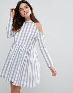 ASOS COLD SHOULDER COTTON STRIPE SMOCK DRESS #fashion #trend #onlineshop #shoptagr