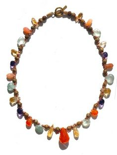 Necklace Carnelian Citrine Aquamarine Amethyst by IMPERIO jp