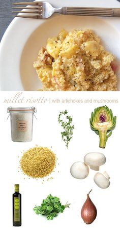 fall recipe | millet risotto with mushrooms + artichokes