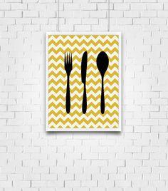 Chevron Kitchen Decor - Cooking Silhouettes - Kitchen Artwork - Housewarming Gift on Etsy, $5.00