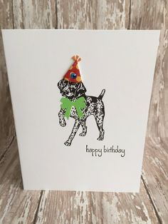 Your place to buy and sell all things handmade Dog Birthday, Birthday Cards, Happy Birthday, Birthday Sentiments, German Shorthaired Pointer, Colorful Party, Party Hats, Card Sizes, Pointers