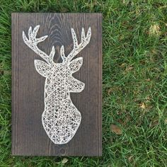 This handsome deer head is a perfect addition to a little guy's woodland themed bedroom or would make a great gift for someone who loves hunting. This listing is for a made to order string art medium deer head sign measuring approximately String Art Diy, Nail String, Diy Gifts, Great Gifts, Deer Signs, String Art Patterns, Doily Patterns, Dress Patterns, Picture Hangers