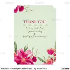Thank You Graduation Photo Cards. Romantic Flower Watercolor Painting Design Personalized Graduation Thank You Flat Cards with Graduate's custom photo and name on the back side. Matching Graduation Announcements , Graduation Party Invitations, Graduation Postage Stamps , Thank You Graduation Cards and other Graduation Stationery, Favors and Gift Products available in the Graduation Category of the artofmairin store at zazzle.com
