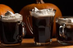 This coffee drink recipe has homemade pumpkin liqueur, whipped cream sweetened with brown sugar, and fresh nutmeg. Pumpkin Spice Cupcakes, Pumpkin Puree, Spiced Pumpkin, Canned Pumpkin, Pumpkin Recipes, Coffee Drink Recipes, Coffee Drinks, Bar Drinks, Pumpkin Spice Liqueur Recipe