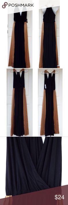 ✨SALE🆕 Black and Caramel V-Neck Wrap Maxi Dress ~SALE!✨Reduced from $24 to $19. Weekend price is firm!~  NWT! New with tags! This is a beautiful maxi dress from JcPenney, Allen B. By Allen Schwartz brand. The top of the straps and skirt's sides are caramel brown while the rest of the dress is black. The top portion is a v-neck wrap style, while the back is a racerback. Has belt loops on the sides, belt not included. No swaps/trades. ABS Allen Schwartz Dresses Maxi