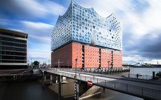 Download wallpapers Elbphilharmonie, Hamburg, concert hall, Grasbrook island, Elbe river, Germany, modern architecture