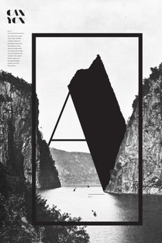 Abstract use of elements // Canyon - vintage poster - letter A  **my boy would love this!**