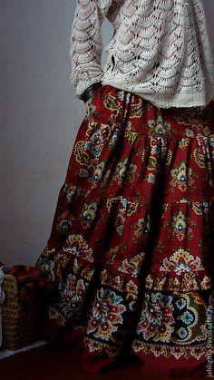 """Купить Длинная юбка с карманами """"Корица"""" - бордовый, юбка длинная, юбка в пол, ярусная юбка"""