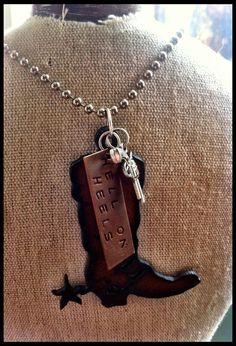 "Hand Stamped, Rustic, Recycled Metal Cowboy Boot with Spur Pendant Charm Necklace ""HELL ON HEELS"" Jewelry by maria. Country Jewelry, Western Jewelry, Equestrian Jewelry, Cowgirl Bling, Cowgirl Style, Cowgirl Fashion, Stamped Jewelry, Metal Jewelry, Silverware Jewelry"