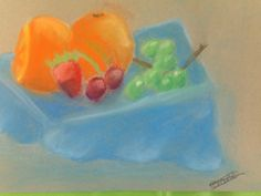 Still life fruit in soft pastels
