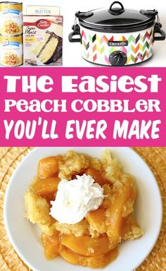 Crockpot Peach Cobbler Dump Cake Easy Recipe! Add this sweet Peach temptation to your menu this week, and gain a house full of fans! Get ready for smiles… but forget about the leftovers!! Just 3 ingredients and you're done. Go grab the recipe and give it a try! Peach Cobbler Dump Cake, 3 Ingredient Desserts, Dump Cake Recipes, Recipe Girl, Sweet Peach, Yummy Appetizers, 3 Ingredients, Crockpot Recipes, Frugal