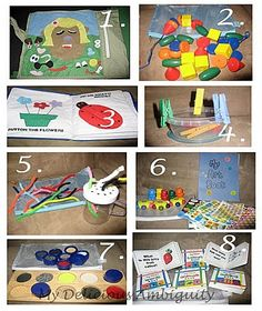 LOTS of toddler busy bag ideas - these are turning out to be a life-saver for me (homeschooling time, car ride) - you can take them anywhere!!