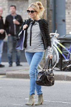 Sienna Miller is adorable in stripes