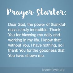 Joyce Meyer encourages you to take time to practice being thankful. There is so much for us to be grateful for, and we need to focus on it—every single day. Prayer For Discernment, Prayer Scriptures, Faith Prayer, Prayer Quotes, Spiritual Words, Spiritual Encouragement, Spiritual Guidance, Prayer For My Son, Prayer Of Thanks