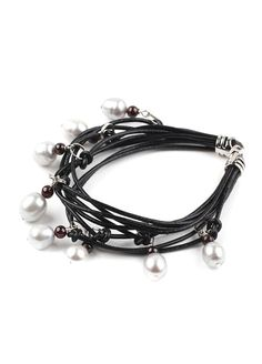 Multi-strand Freshwater Pearl Leather Bracelet