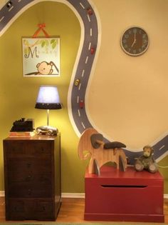 Do the road with magnetic paint and add magnets to the cars. Playroom ~ cool kids room or playroom idea Boys Room Decor, Kids Bedroom, Kids Rooms, Bedroom Wall, Kids Decor, Bedroom Decor, Wall Decor, Car Bedroom Ideas For Boys, Boys Room Paint Ideas