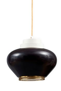 Alvar Aalto; #A 333 Painted Metal and Perforated Brass 'Turnip' Pendant Light for Valaisintyö, 1950s.