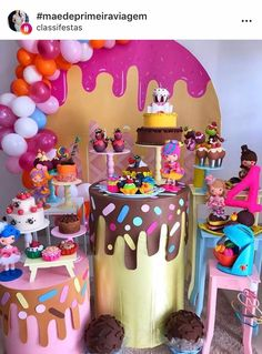 Candy Theme Birthday Party, Girl Birthday Decorations, Candy Party, Birthday Parties, Ice Cream Party, Ice Cream Theme, Ideas Decoracion Cumpleaños, Candy Land Christmas, Kids Party Themes