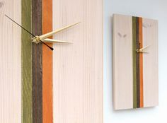 Wood Clock Wall Clock Modern Cream Green Walnut by ArtGlamourSligo, €56.00