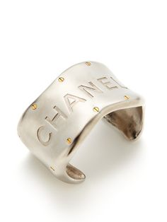Silver Metal Typography Cuff Bracelet by Chanel on Gilt.com