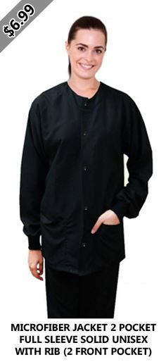 Microfiber jacket 2 pocket full sleeve solid unisex with rib Snap Button Buy Scrubs, Scrub Jackets, Scrub Sets, Shirt Dress, Unisex, Pocket, Button, Sleeves, Mens Tops